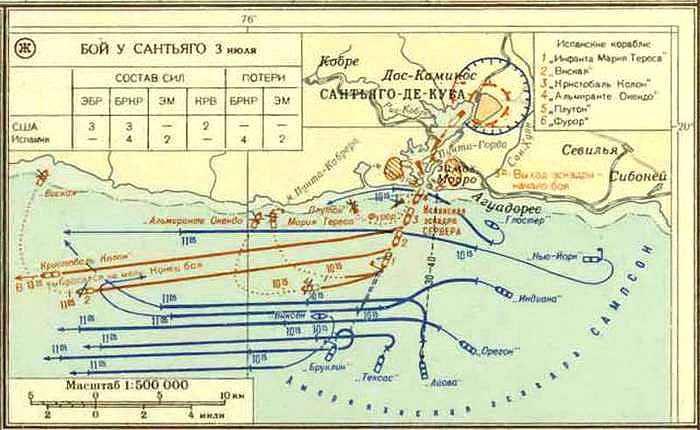 Карта битвы у Сантьяго-де-Куба