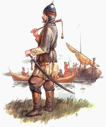 Ушкуйник на фоне кораблей