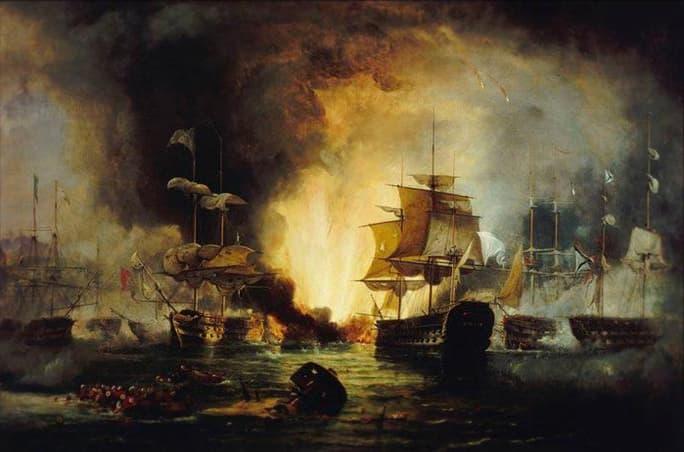 Корабль русского флота «Азов» под командованием капитана 1-го ранга Михаила Лазарева